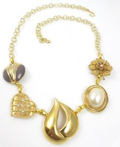Vintage Gold and Purple Abstract Necklace by TashaHussey