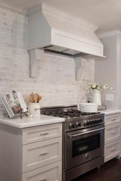 "Grey/washed white brick backsplash Fixer Upper: Midcentury ""Asian Ranch"" Goes French Country Brick Kitchen, White Kitchen Backsplash, White Wash Brick, Farmhouse Kitchen Backsplash, French Country Kitchen, Kitchen Remodel, Brick Backsplash Kitchen, Kitchen Dining Room, Home Kitchens"