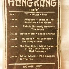 Some amazing lineups and bands. Good old days st the Hong Kong Cafe playing with The Real Kids. Hong Kong Cafe, Gear S, Good Old, Bands, Amazing, Pretty, Band, Band Memes
