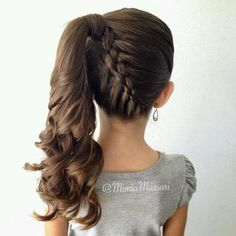 Lovely Kids Hairstyles: 15 Easy and Cute Hairstyles For Kids… www.wowhairstyles… The post Kids Hairstyles: 15 Easy and Cute Hairstyles For Kids… www. Little Girl Braid Hairstyles, Little Girl Braids, Braided Ponytail Hairstyles, Dance Hairstyles, Flower Girl Hairstyles, Girls Braids, Pretty Hairstyles, Braid Ponytail, Curly Hairstyles