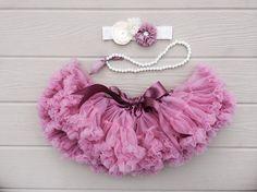 Petti skirt. Baby pettiskirt. Baby girl photo prop. Dusty pink petti skirt. Baby tutu. Cake smash outfit. 3 piece set
