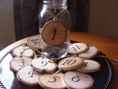 birch tree decorated for wedding | Rustic Wedding Decorations set of 12/ Rustic Wood Table Numbers ...