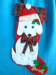 Sweet Christmas  dog- white felt 20 inch stockings with lots of room for dog gifts treats and people gifts- so cute