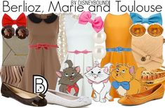Disney Bound - Berlioz, Marie, and Toulouse from Aristocats Cute Disney Outfits, Disney Themed Outfits, Disney Dresses, Disney Clothes, Movie Outfits, Disney Cosplay, Disney Costumes, Disney Inspired Fashion, Disney Fashion