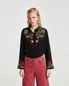 Image 2 of EMBROIDERED SHIRT from Zara