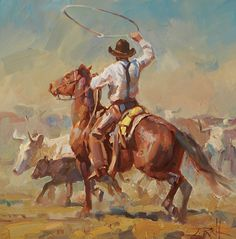 Roping on the Range 12x12 by Jason Rich