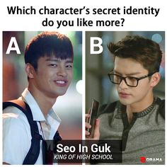 """If you fell in love with Seo In Guk from """"Reply 1997,"""" did you watch him recently in """"King of High School""""?  Choose A or B and tell us which secret identity you prefer! http://www.2drama.com/king-of-high-school-online"""
