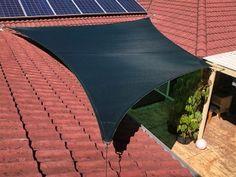 4 Point shade sail in Rainforest Green in Forest Lake. Carport Shade, Shade Sail Installation, Brisbane Cbd, Sun Sail Shade, Patio Shade, West Lake, Sunshine Coast, Luxury Apartments, Gold Coast
