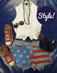 DIY American Flag Cutoff Shorts #America #USA #Converse #Cutoffs Clothes  Outift for • teens • movies • girls • women •. summer • fall • spring • winter • outfit ideas • dates • parties Polyvore :) Catalina Christiano