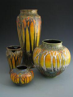 Stephanie Young | CalmWater Designs | Sunset Series | Birches | Art Nouveau | #CAPCA