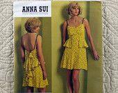 Dress, Vogue V1105 Pattern for Women, FREE SHIP, Anna Sui, Open Back, Gathered Bodice, Flounce, Straps, 2009 Uncut, Size 4 6 8 10, 4-oz