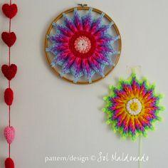 Mandala Crochet Pattern Hoop PDF  ottoman or crochet  hoop | Etsy