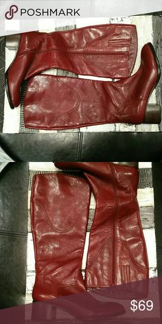 New burgundy Nine West boots 9 Gorgeous and brand new ready to be worn. They are burgundy or blood red not as bright as the picture is showing them to be. They have a nice stacked heel for stability. This style can be worn with leggings dresses skirts even jeans. Bundle my items to save Nine West Shoes Over the Knee Boots