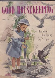APRIL 1946 GOOD HOUSEKEEPING vintage magazine - FEEDING BIRDS