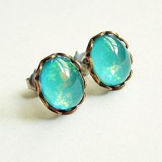 Aqua Glass Stud Earrings Vintage Domed Cabochon Posts by skeptis
