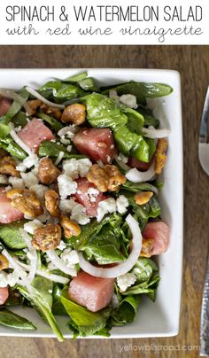 spinach and watermelon salad with red wine vinaigrette