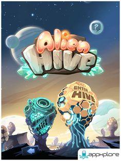 Appxplore   Games Development Studio   Alien Hive Game Design, Icon Design, Design Web, Logo Design, Alien Hive, Treasure Games, Fantasy Logo, Game Title, Game Concept Art