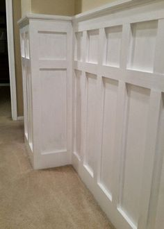How to Install Board and Batten Wainscoting (White Painted Square over Rectangle Pattern) - One Project Closer Black Wainscoting, Wainscoting Nursery, Painted Wainscoting, Dining Room Wainscoting, Wainscoting Styles, Wainscoting Panels, Basement Wainscoting, Beadboard Wainscoting, Small Upstairs Hallway