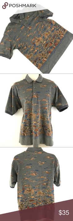 """Bobby Jones Golf Polo Shirt Hawaiian Printed Brand:Bobby Jones  Tagged Size:Medium   Total Length:27.5""""  Sleeve Length:10""""  Underarm to Underarm:23""""   Condition:Pre owned, in Excellent Shape. No Holes, Stains or Fading      Item comes from a pet free/smoke free clean environment  please contact me for any additional questions  I offer combined shipping bobby jones Shirts Polos"""