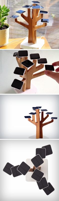 The Solar Suntree is a rather neat alternative to yet another power-bank. It ditches the dull and boring Lithium ion battery for 9 solar panels, arranged beautifully like leaves on the branches of its bamboo wood tree-trunk.
