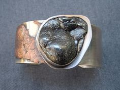 Handcrafted Silver & Copper Jewelry, San Diego, One of a Kind, Reticulated Copper on Sterling Silver Cuff Bracelet with Rough Hematite Stone.