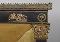 Antique Empire style fireplace with gilt bronze ornaments : Triumph of Diana and Apollo - Wood Imperial Symbol, Winged Victory, Architectural Antiques, Empire Style, Acanthus, Black Wood, Rare Antique, 19th Century