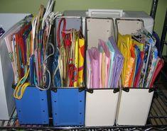 Upcycled Magazine File - giftbag storage