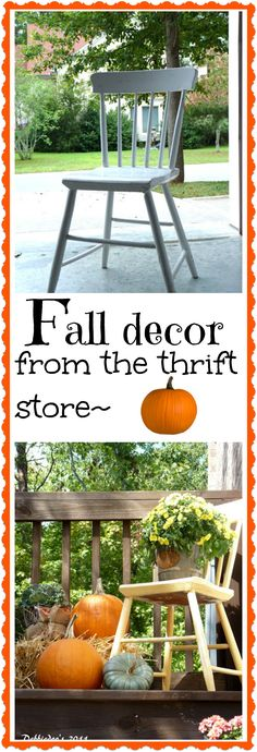 Fall decorating outdoors. With a thrift store chair make over.