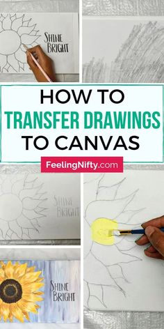 2 easy ways to transfer a drawing / image from paper to canvas for painting. Transfer your reference photo to a canvas with transfer paper … Canvas Painting Tutorials, Easy Canvas Painting, Diy Canvas Art, Stencil Painting, Painting Letters, Canvas Painting Designs, Canvas Designs, Canvas Paintings, How To Paint Canvas