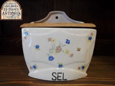 Antique FRENCH wall mount SALT BOX circa 1930