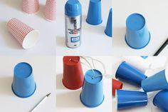 Guirnalda de luces leds hecha con vasos desechables con pintura en spray. Supporting DIY with our spray paints