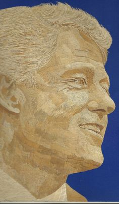 President BILL CLINTON on ancient leaf art  Not a by museumshop, $199.00. Handmade with dried leaves of rice plant. Can U believe it is leaf art?