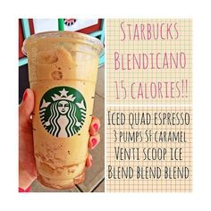 If you're looking for a low cal, guilt free option to replace the traditional frappuccinos here you go! Try the 15 cal of guilt free goodness! You can totally skip the sugar fr Low Calorie Starbucks Drinks, Low Calorie Drinks, Starbucks Recipes, Coffee Recipes, Sugar Free Starbucks Drinks, Starbucks Hacks, Yummy Drinks, Healthy Drinks, Yummy Food