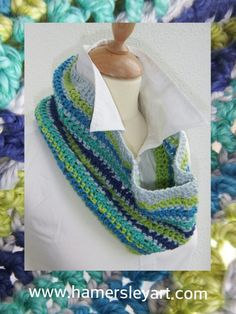 New Cowl hand #crocheted with #cotton and #silk #Yarn available from http://www.thewoolshop.ie