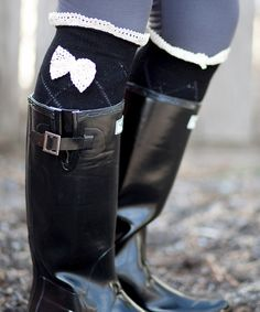 Look at this #zulilyfind! Black & Ivory Ruffle Boot Socks by Boutique Socks #zulilyfinds