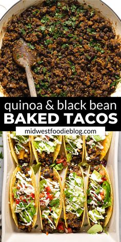 "These vegetarian black bean tacos are NEXT LEVEL! Black beans and quinoa combine with a signature taco spice blend for a seriously delicious ""meaty"" filling. Then they're smothered with cheddar cheese Tasty Vegetarian Recipes, Vegan Dinner Recipes, Veggie Recipes, Mexican Food Recipes, Whole Food Recipes, Diet Recipes, Cooking Recipes, Healthy Recipes, Vegan Vegetarian"