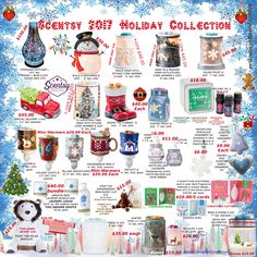 Scentsy 2017 Holiday collection flyer. Products available October 1, 2017 at https://postalgirl.scentsy.us/ scentsy Holiday 2017 collection