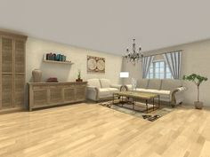 YOU DECIDE -- Is this room design missing anything?  Visualize your interior designs and color themes in 3D:  http://www.roomsketcher.com/interiordesign   3D floor plan for a living room with decor from Ashley Furniture, Restoration Hardware & Ethan Allen; Designed in RoomSketcher Pro by our partner Baezeni   #livingroom #design #decor
