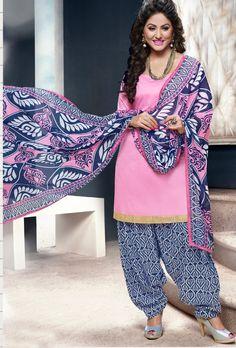 Pink Blue Cotton Suit - Desi Royale