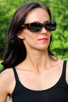 Dahlia Tiger Eye fitover sunglasses by Jonathan Paul® Fitovers are made with unparalleled technology specifically to wear comfortably over prescription glasses... and they look GREAT. Definitely not your grandparents' fitovers!