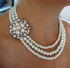 Bridal Necklace, Pearly Necklace ,wedding Necklace - Laura - Ivory Swarovski Pearls and rhinestone Necklace