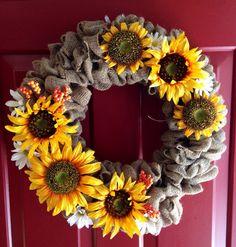 Fall Burlap wreath by UniqueDoorDecor on Etsy