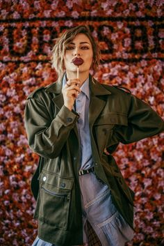 Burts Bees Event in Berlin, featuring their new lipstick collection | wearing Lala Berlin military coat and ruffles dress