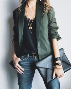 Alterations Needed - Fashion Tips, Style Advice, Petite Fashion - Women's Fashion Cool Outfits, Casual Outfits, Fashion Outfits, Beautiful Outfits, Green Blazer Outfits, Girly Outfits, Blazer Kaki, Orange Blazer, Camisole Outfit