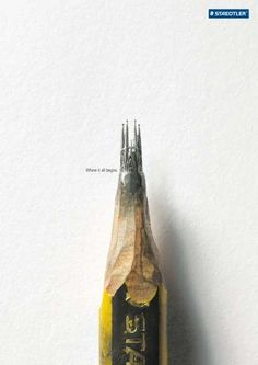 Pencil Tip Sculpture Ads  The Staedtler Where It All Begins Campaign Brings Life to Ideas. Many of these ads have a lot of negative space and close up images to really draw your attention to what is going on.
