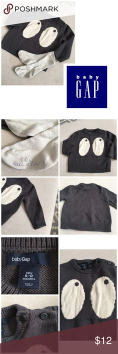 Baby Gap spooky eyes sweater/sock bundle-worn once GENTLY WORN, could have slight wear/ staining I didn't catch. I do try to list any/all flaws. Please see all pictures.   PLEASE, REASONABLE OFFERS ONLY!  -Smoke and pet free - If its $10 or under, I WILL NOT accept offers. -I do not model anything; everything looks different on everyone and I don't wasn't too Jade that. I will put the item on a dress form or find factory pics and provide measurements. -NO HOLDS, NO TRADES, POSH RULES ONLY…