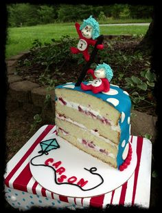 My Baby Boys Birthday Cake Seuss Half With A Thing 1 And 2 Topper