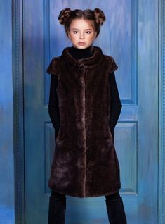 Luxury faux fur kids vest - mink cappuccino. Exclusive eco furs by Tissavel  (France 627372305