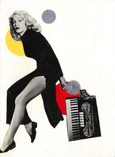 Eine Collage von Paula Wirth mit Marlene Dietrich. Die Schauspielerin und Sängerin spielte wirklich Akkordeon. Hier das Original-Foto: http://pinterest.com/pin/280138039291808024/ Stichworte: #Accordion #Art #Player #Celebrity