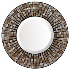 Round wall mirror with mosaic details.    Product: Wall mirrorConstruction Material: Glass Color: Mult...